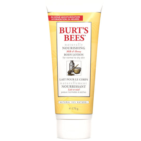 Hate a greasy moisturizer? Burt's Bees Naturally Nourishing Body Lotion For Normal to Dry Skin ($8) absorbs quickly while having nourishing ingredients like grape seed and coconut oils.