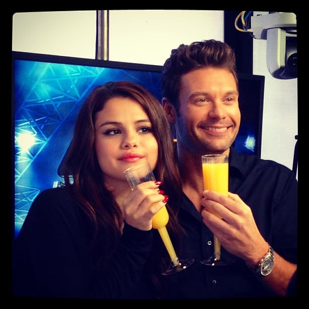 Selena Gomez celebrated her 21st birthday with a mimosa during a stop at Ryan Seacrest's radio show. Source: Instagram user officialellenk