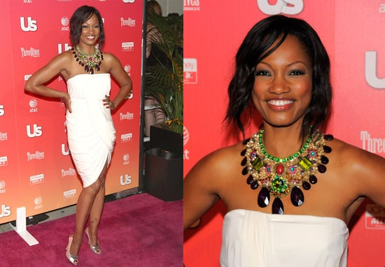 Actress Garcelle Beauvais-Nilon Attends Hot Hollywood Party Wearing White Dress and Jeweled Necklace