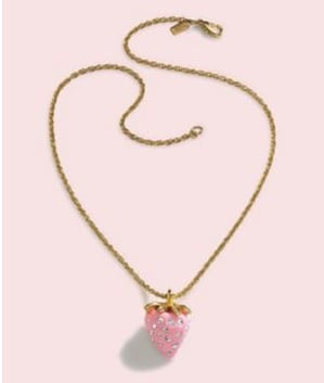 Fabworthy: Kenneth Jay Lane Mini Strawberry Necklace Benefiting Breast Cancer