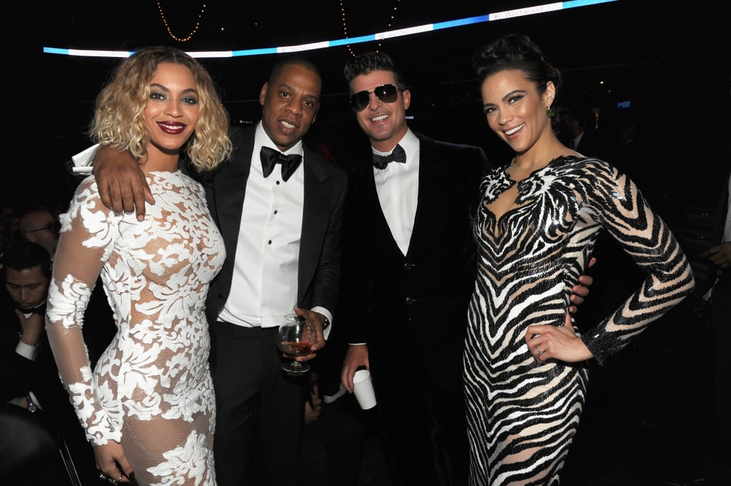 Jay Z and Beyoncé hung out with Robin Thicke and Paula Patton in the audience.