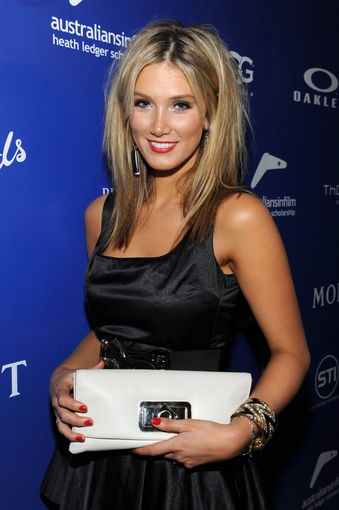 Delta wore black and accessorised with white at the 2010 Australians in Film Breakthrough Awards in May 2010.