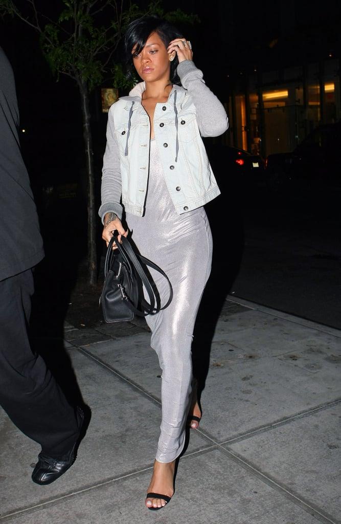 Rihanna chose a metallic slip dress and sweatshirt-sleeved denim jacket for an April 2012 dinner at Da Silvano in NYC.