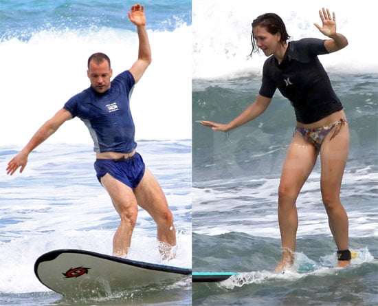 Pics: Maggie Gyllenhaal and Peter Sarsgaard Try Out Surfing!