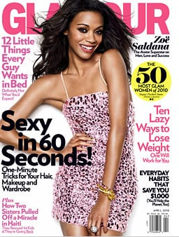 Photo and Quote From Zoe Saldana Cover Shoot For April 2010 Glamour Magazine