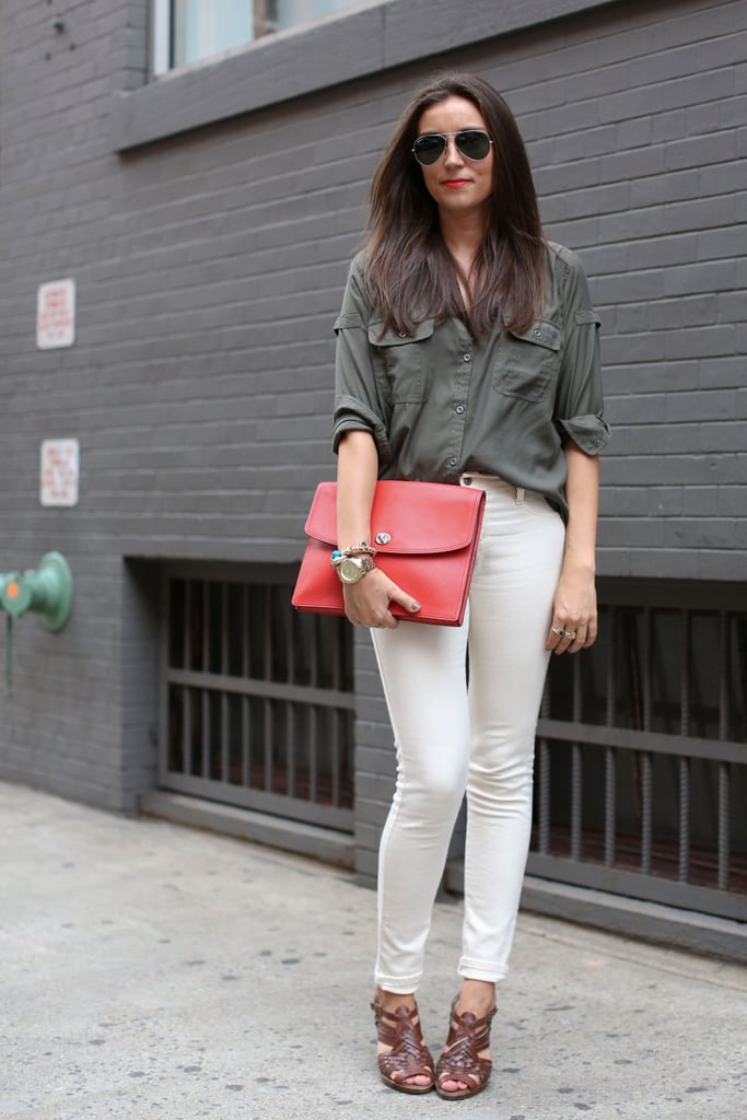 We love this laid-back utilitarian look, complete with a pop of coral.