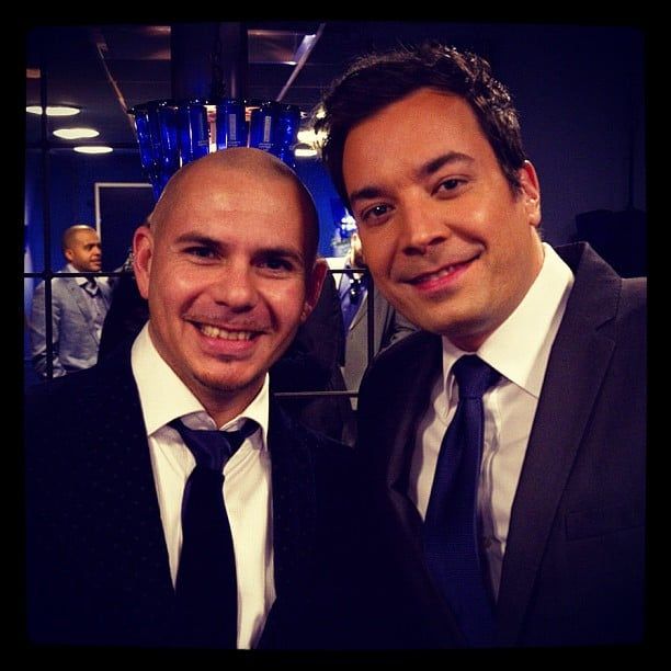 Pitbull stopped by Late Night With Jimmy Fallon. Source: Instagram user pitbull
