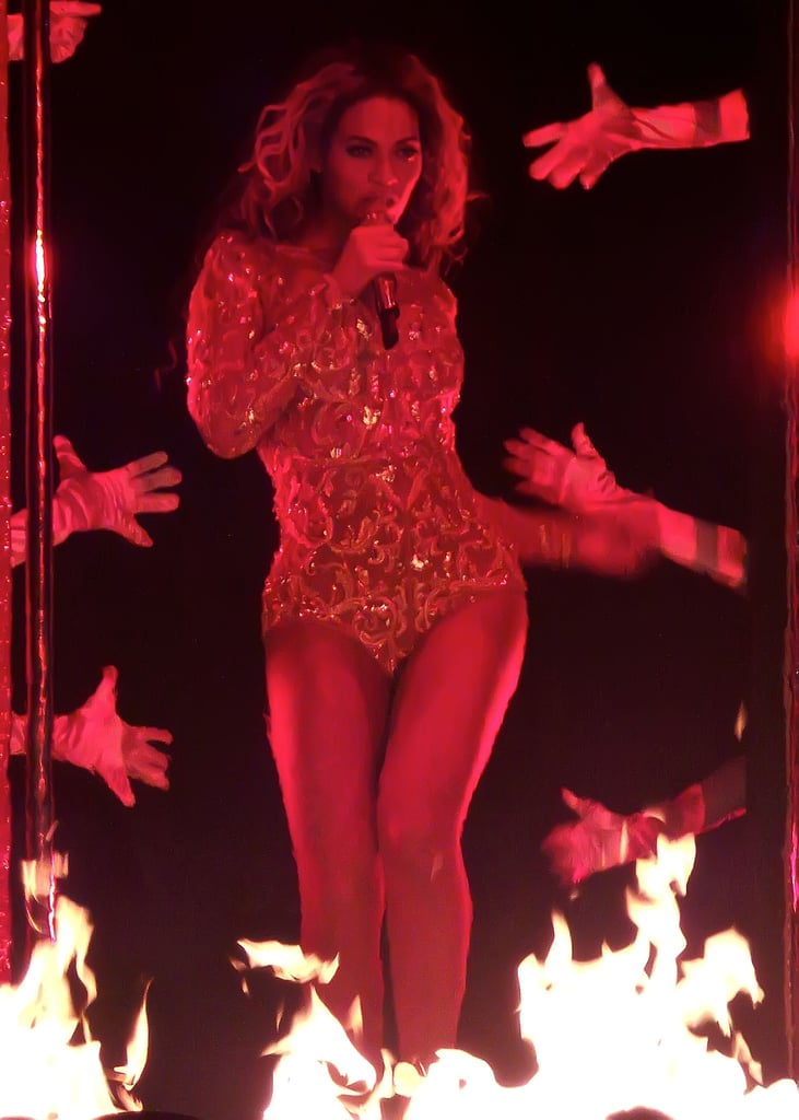 Beyoncé was on fire — literally — in yet another sequined number.