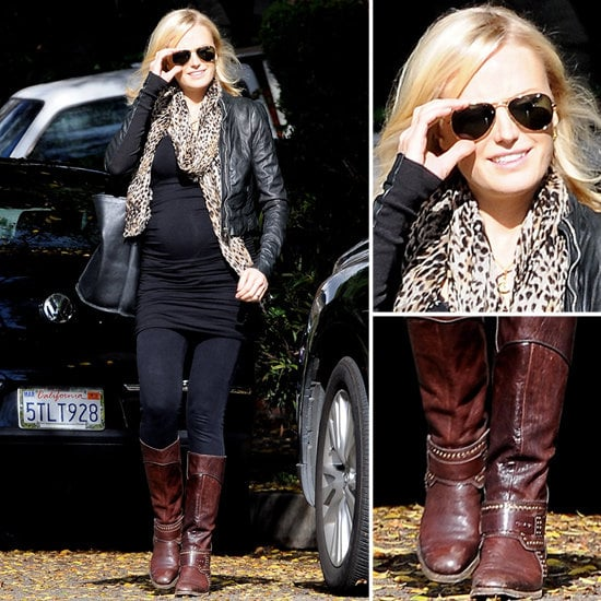 Malin Akerman gets our nomination for best pregnant style — just look at her edgy jacket and leopard-print scarf!