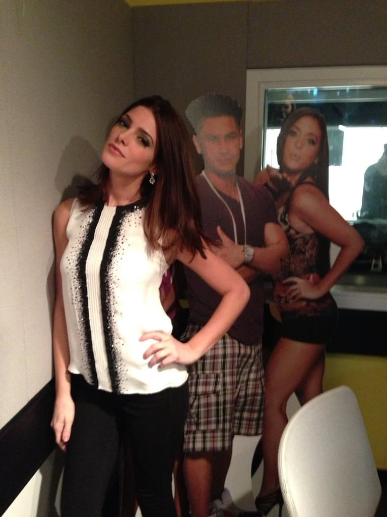 Ashley Greene struck a pose with cardboard cut-outs of the Jersey Shore cast.  Source: Twitter User AshleyMGreene