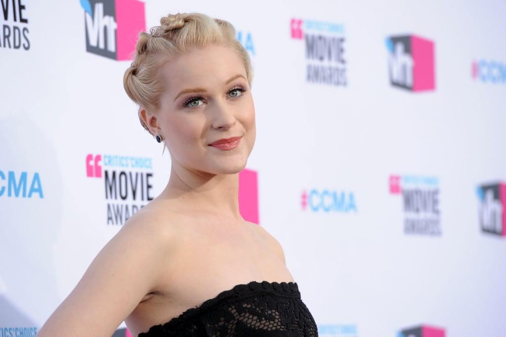 Evan Rachel Wood put her hair up at the 2012 Critics' Choice Movie Awards.