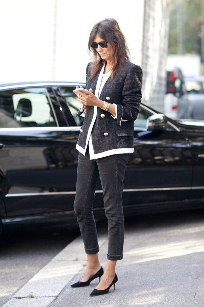 Emmanuelle Alt knows that looking chic doesn't have to be complicated; simply add a polished jacket and walkable low heels to your trousers and tee.