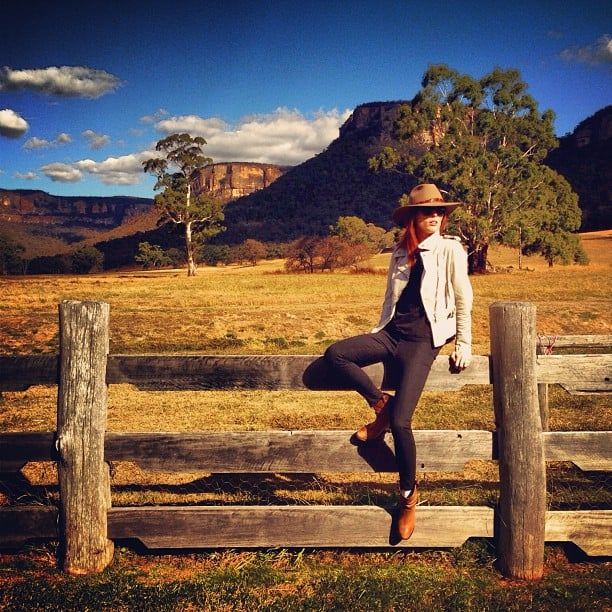 """Coco Rocha """"found her true calling"""" as a chic cowgirl during a trip to the Australian Outback. Source: Instagram user cocorocha"""