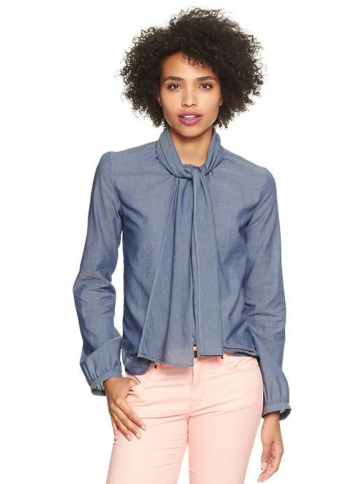 A perfectly appropriate way to wear denim to the office: Gap bow-neck chambray top ($50).