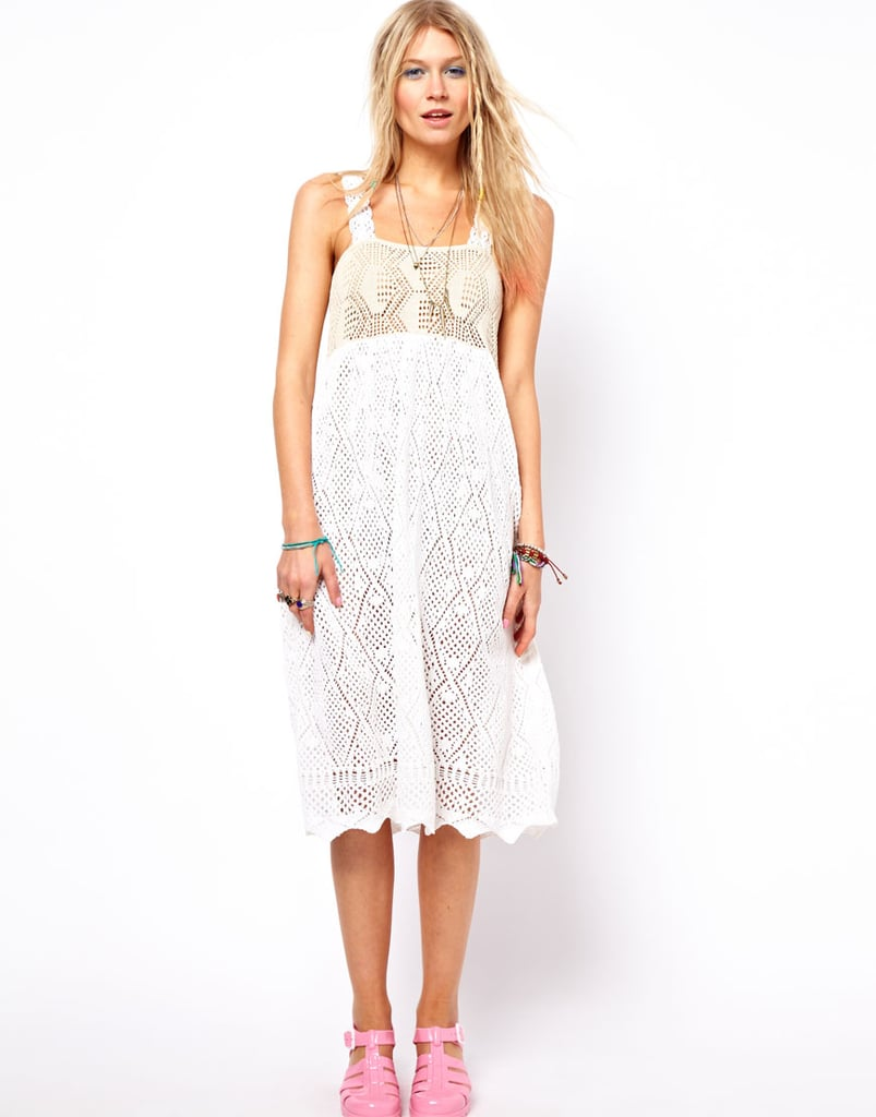 Wear this floaty, cool ASOS Crochet Midi Dress ($76) with flat sandals or ankle booties for a fresh bohemian look.