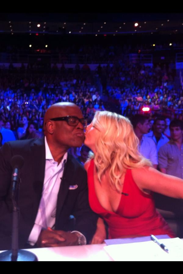 Britney Spears planted a kiss on L.A. Reid's cheek during auditions for The X Factor. Source: Twitter user LA_Reid