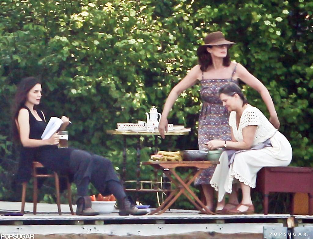Katie Holmes ran a scene with her costars in Connecticut.