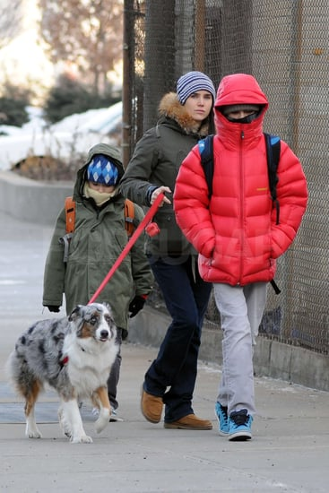 Pictures of Jennifer Conelly, Kai Dugan, and Stellan Bettany Heading to School in NYC