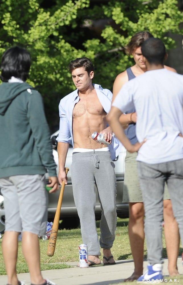 Zac Efron picked up a bat on the set of Townies.