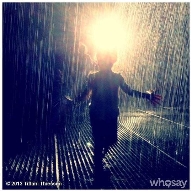 Harper Smith visited the Rain Room exhibit at the Museum of Modern Art — where the rain stops when it senses a human entering the area. Source: Instagram user tathiessen