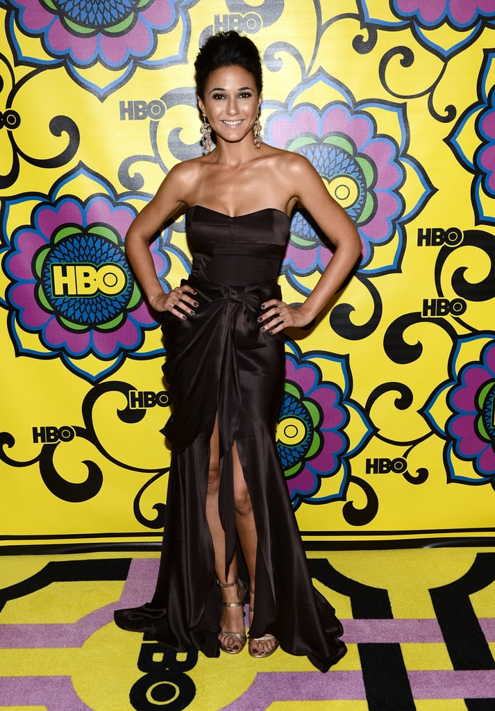 Emmanuelle Chriqui opted for a feminine, chocolate-hued Izmaylova gown.