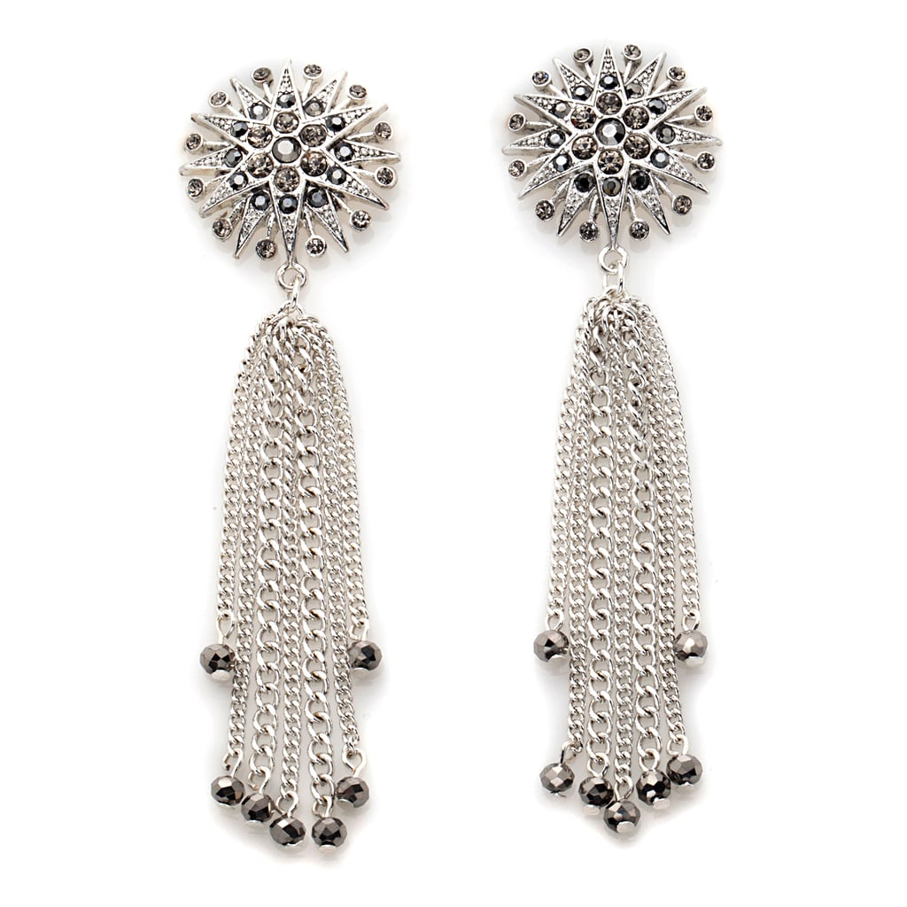 "American Glamour Badgley Mischka Starburst Dangle Earrings Luxury need not come at a price with these ""wear now"" earrings from legendary American design team Mark Badgley and James Mischka. Dynamic starburst design, smoldering glimmer, and edgy dangling chains give a fierce flair to your ensemble while empowering you to live every day glamorously."