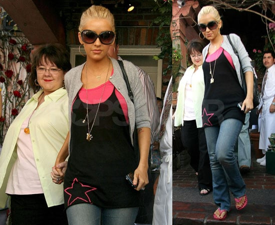 Xtina and Her Mom Kick it at The Ivy for Mother's Day