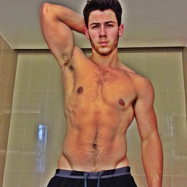 "Nick Jonas shared this very revealing selfie to show off the results of his ""healthy living and fitness."" Source: Instagram user nickjonas"