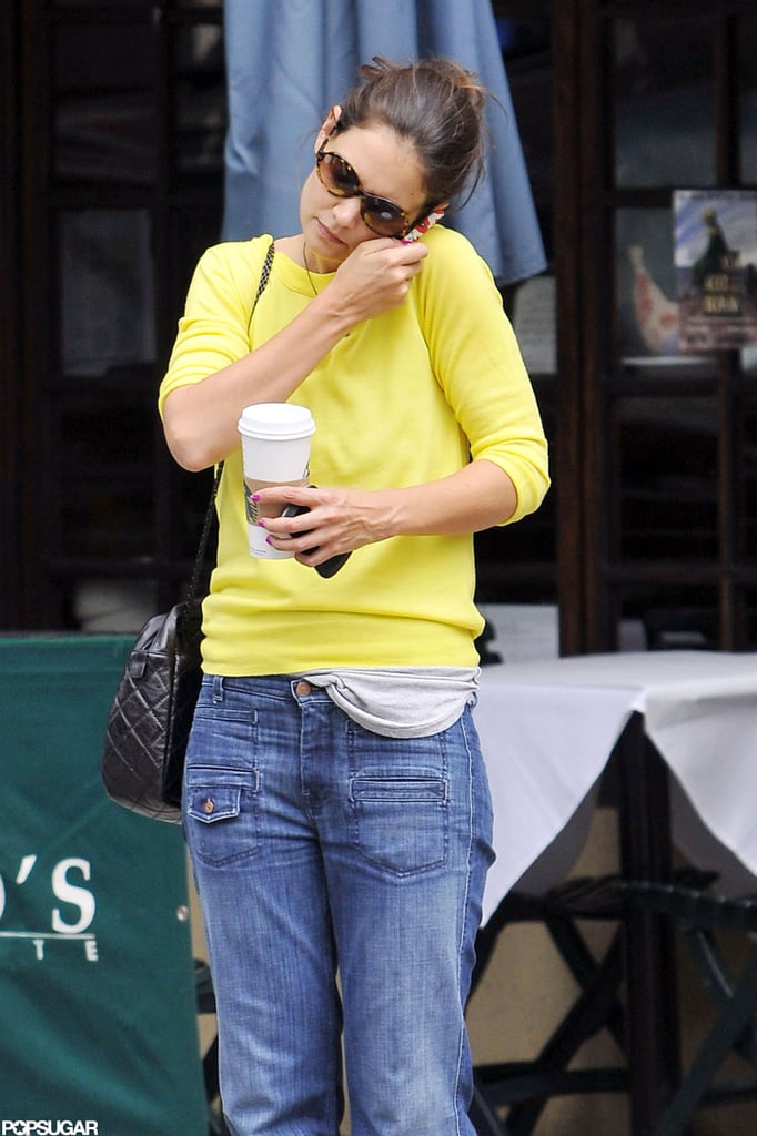 Katie Holmes got coffee in NYC.