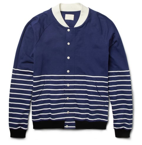 With Spring (finally) here, it's time to break out those lightweight jackets. Enter this striped Band of Outsiders baseball jacket ($425). Its blue and white color palette will go with anything, while the horizontal stripes add an unexpected update to a wardrobe staple.  — Robert Khederian