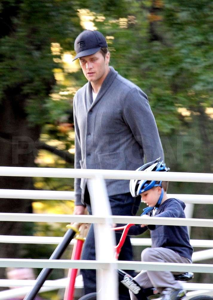 Jack Brady rode a bike next to dad, Tom Brady.