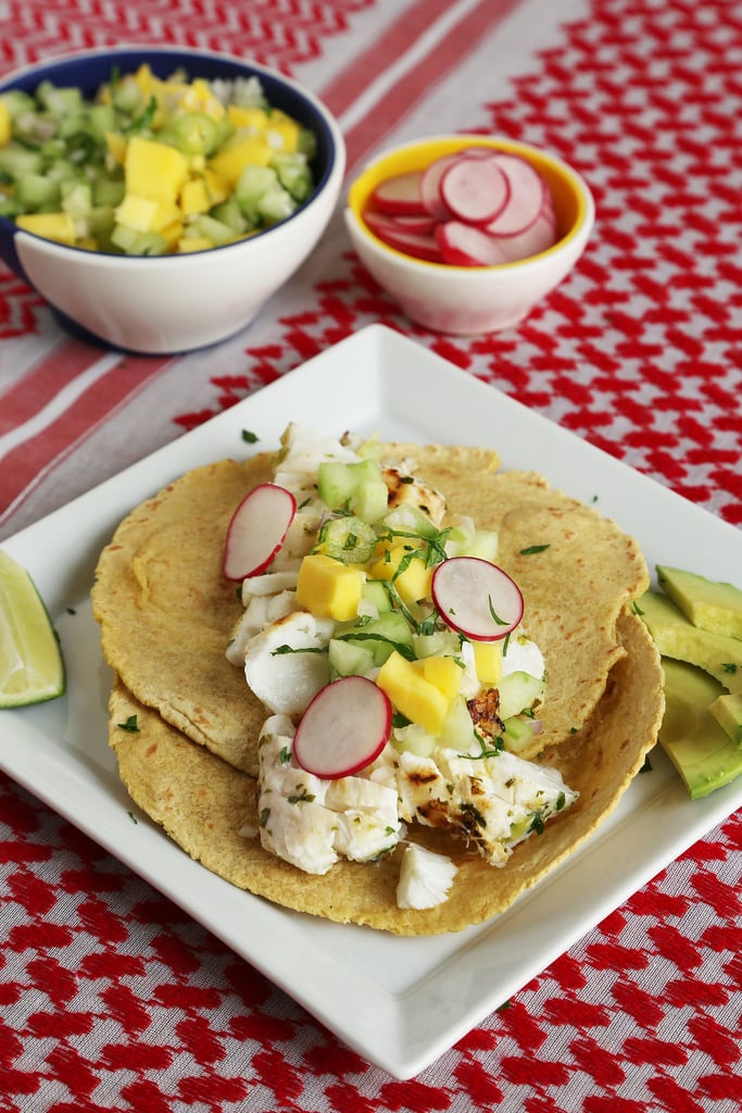 Grilled Fish Tacos With Cucumber-Mango-Mint Salsa