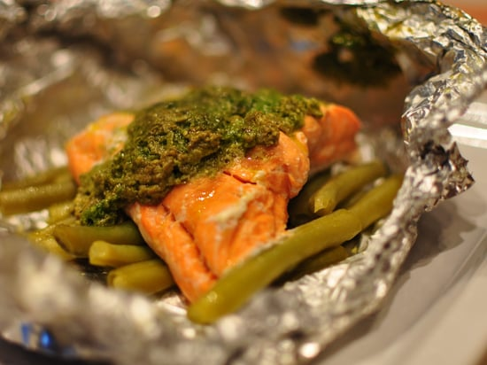 Jamie Oliver's Simple Salmon Recipe With Green Beans and Pesto