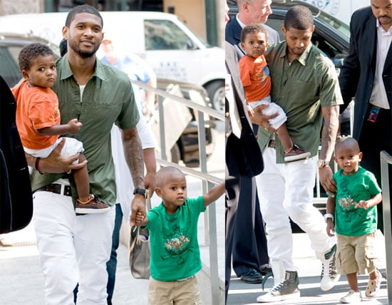 Pictures of Usher in NYC With His Sons Cinco and Naviyd