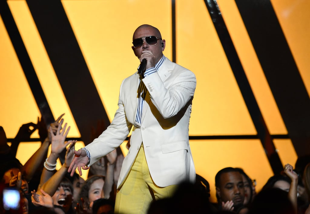 Pitbull hit the stage during the Billboard Music Awards.
