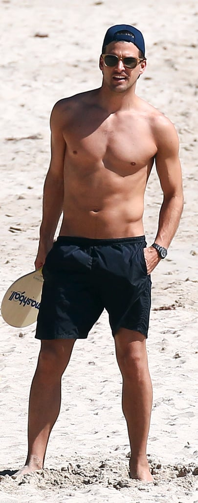 Johannes Huebl had some shirtless fun in the sun while vacationing with girlfriend Olivia Palermo in St. Barts this January.