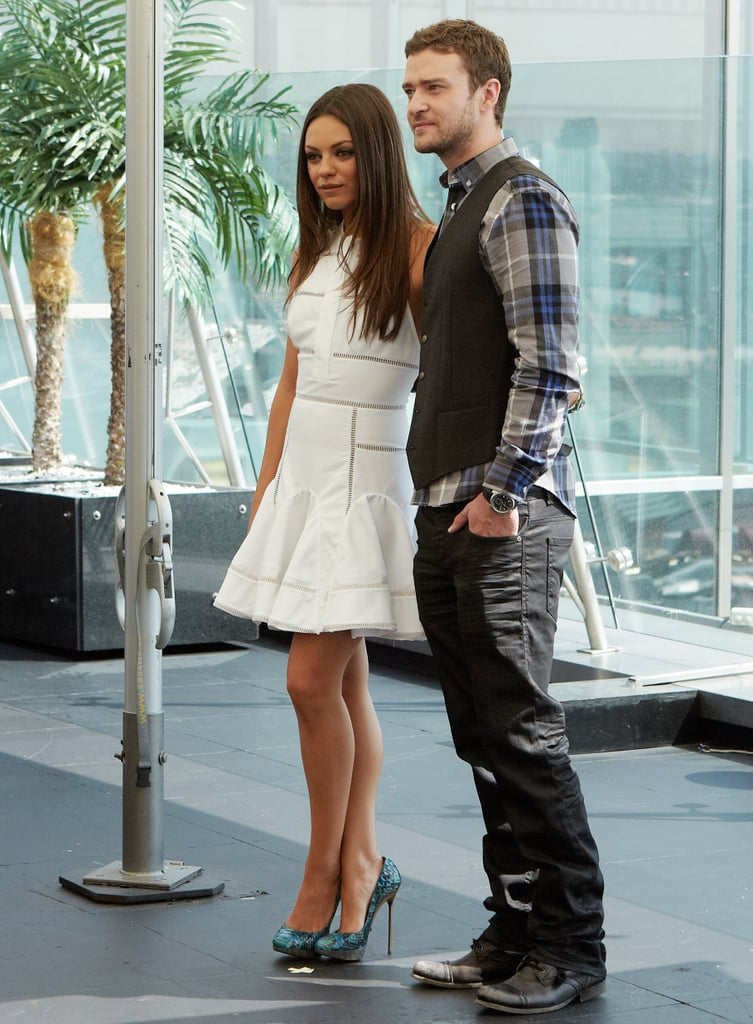 Justin Timberlake and Mila Kunis at a photo call for Friends With Benefits.