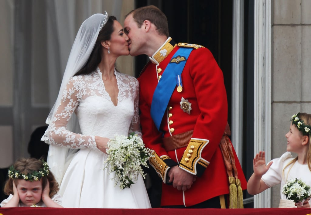 William and Kate sealed their 2011 marriage with a kiss, as loud jets flew overhead.
