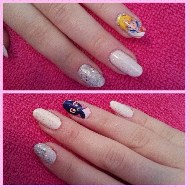 Go all out with a Sailor Moon character on every nail with these themed nail wraps ($6 for 15), or go with the brilliant example pictured here and use them as accents on a manicure.
