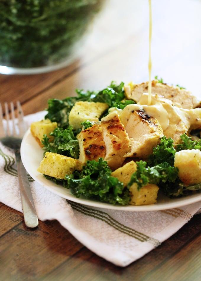 Grilled Chicken Kale Caesar Salad