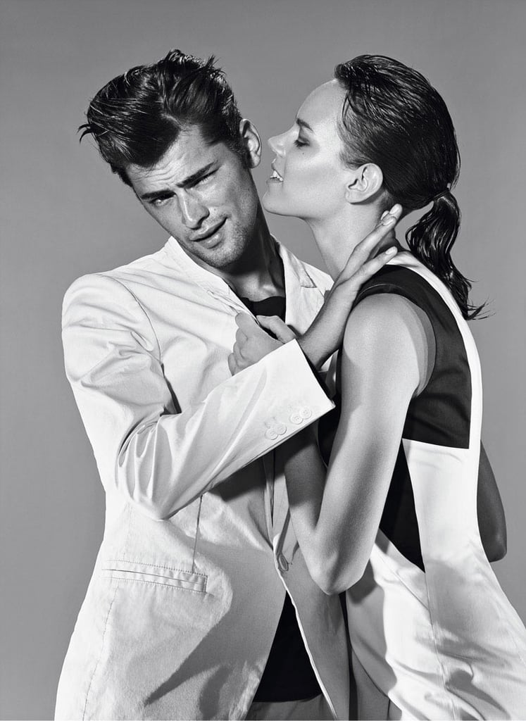 Models Sean O'Pry and Freja Beha Erichsen get silly in the Hugo by Hugo Boss black and white Spring '12 ad campaign. Source: Fashion Gone Rogue