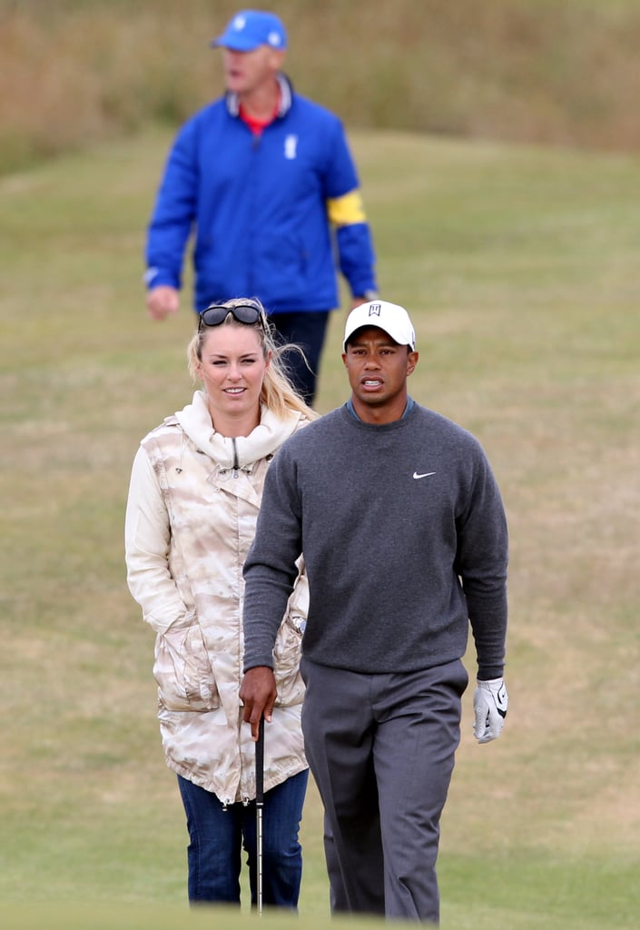 Tiger Woods and Lindsey Vonn spent time together while he played a practice round for the 142nd British Open Championship in Scotland.