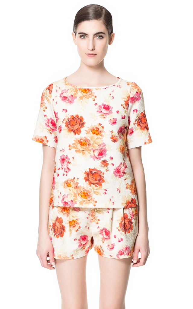 Zara's printed jacquard top ($80) has a Spring-perfect print that we think will look pretty perfect with your white skinny jeans.