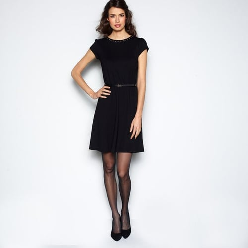 Short-Sleeved Stretch Milano Knit Dress