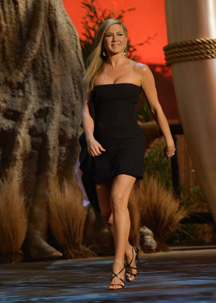Jennifer Aniston wore a short black dress.