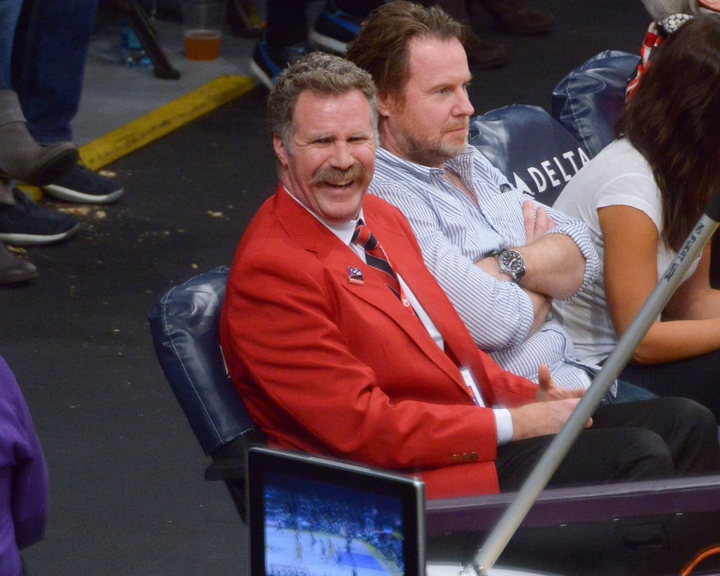 Will Ferrell laughed while watching the basketball game in LA.