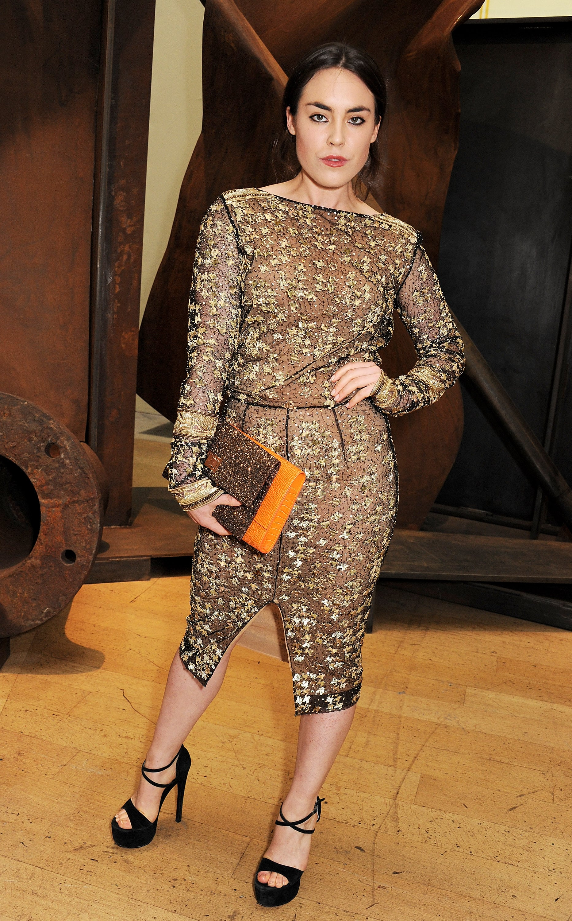 Tallulah Harlech at the Royal Academy of Arts Summer exhibition in London.