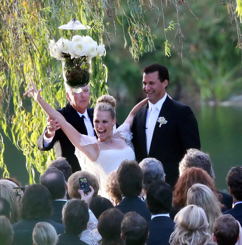 "Molly Sims chose a mermaid-style Marchesa gown with lace sleeves when she said ""I do"" to Scott Stuber in Napa during September 2011."