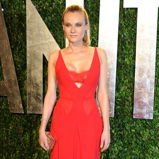 Diane Kruger Red Bra Calvin Klein Dress Pictures at 2012 Vanity Fair Oscars Party