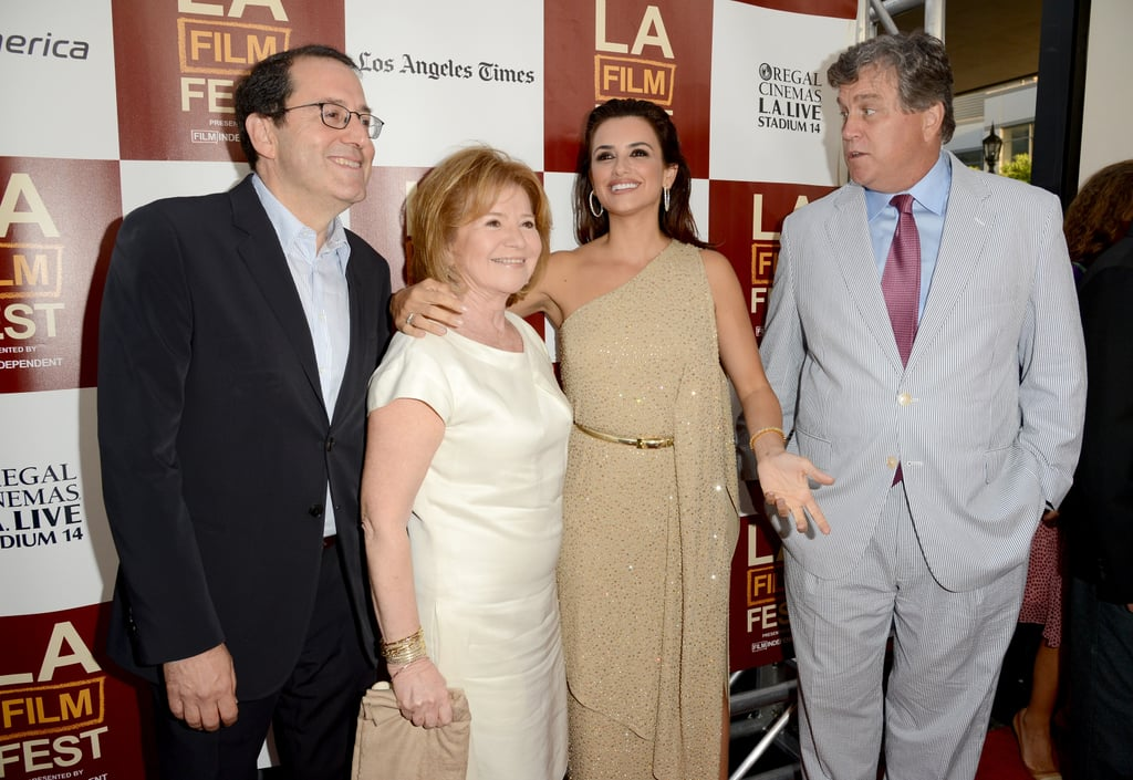 Penelope Cruz posed with Michael Barker and Letty Aronson for the premiere of To Rome With Love in LA.